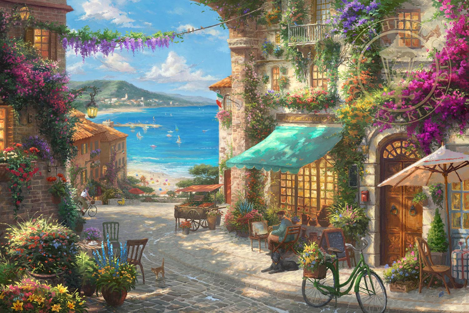 italian cafe paintings amp art thomas kinkade memphis gallery