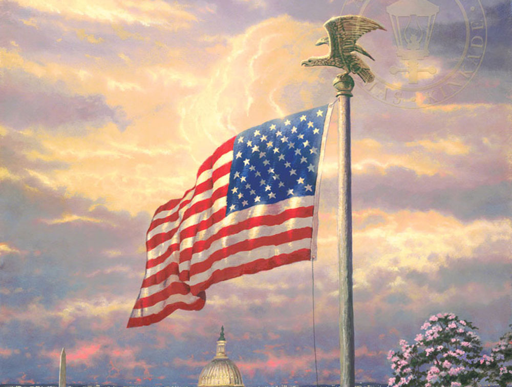 Thomas Kinkade American Flag Painting