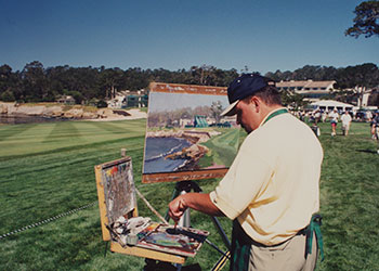 Thomas Kinkade Painting Pebble Beach Archive Photo